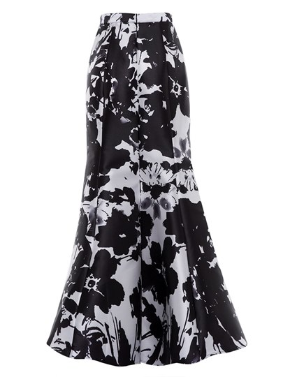 Floral Print Color Block Floor-Length Women's Skirt