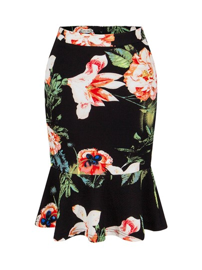 Retro Color Block Floral Print Women's Skirts