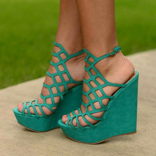 Kelly Green Strappy Hollow Wedge Heel Sandals