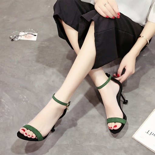 Suede Plain Line Buckle Rhinestone Simple High Sandals