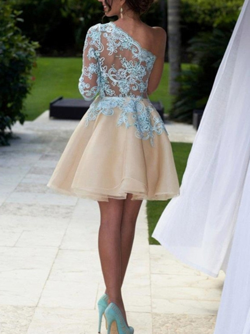 One-Shoulder Long Sleeves Appliques A-Line Short Homecoming Dress