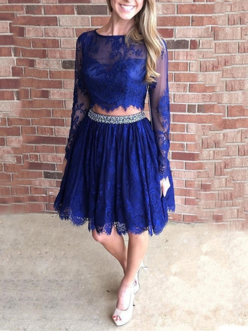 Long Sleeves A-Line Lace Beaded Short Homecoming Dress