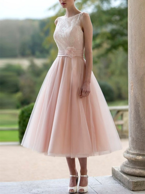 Straps Button Lace Tea-Length Pink Prom Dress