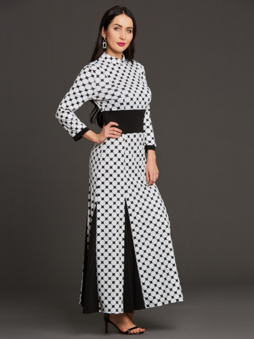 3/4 Sleeve Polka Dots Women's Maxi Dress