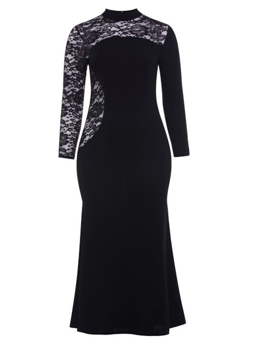 Plus Size Black Lace Patchwork Plus Size Women's Maxi Dress