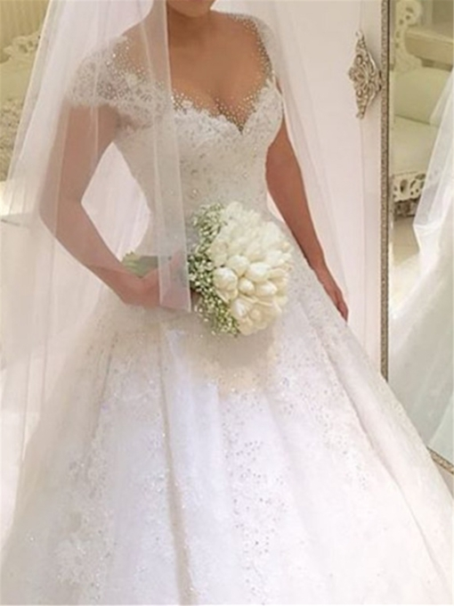 Beading Cap Sleeve Lace Ball Gown Wedding Dress