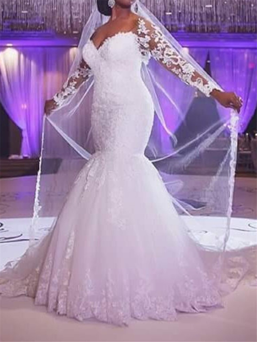 55ae127f12f Appliques Mermaid Plus Size Wedding Dress with Long Sleeve