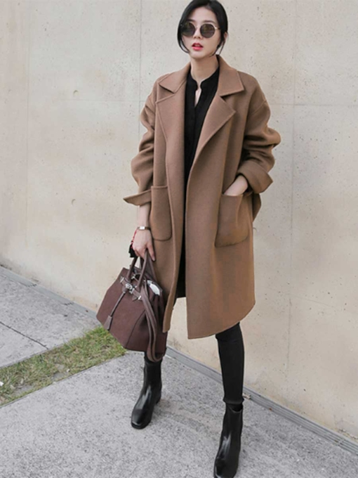 Plain Big Pocket Patchwork Lapel Women's Overcoat