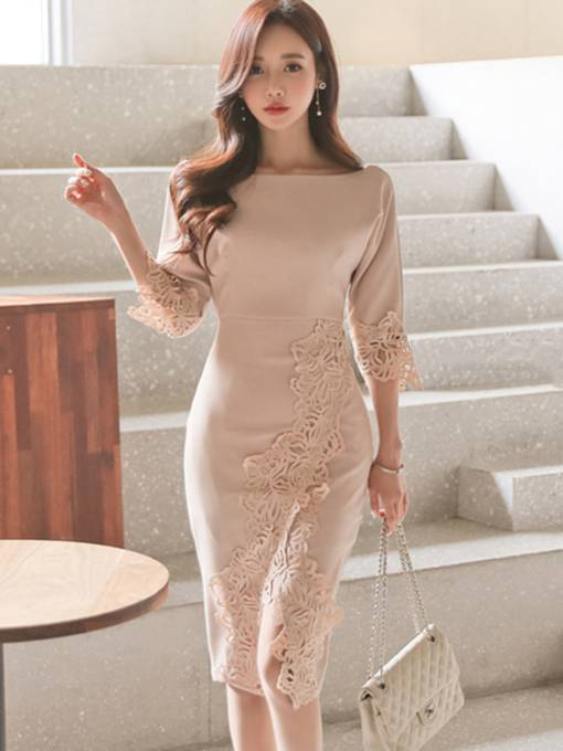 Nude Appliques Women's Bodycon Dress