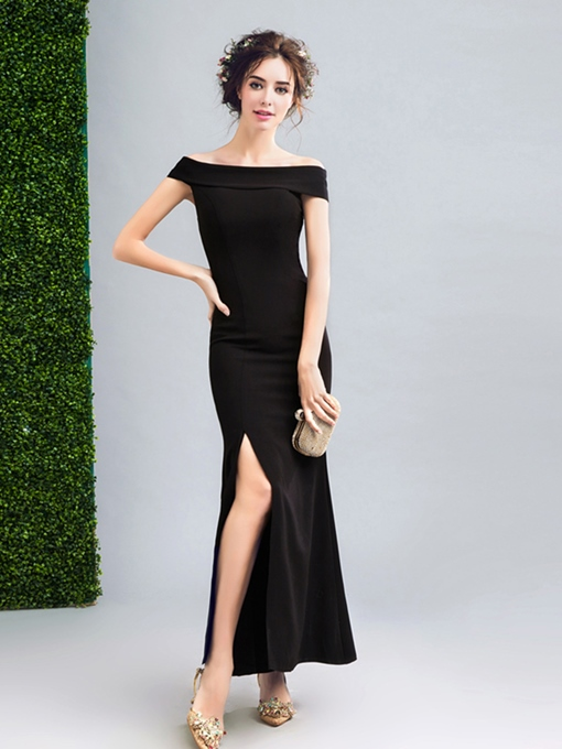 A-Line Off-the-Shoulder Split-Front Evening Dress