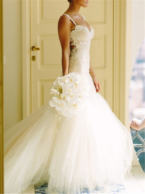 Spaghetti Strap Appliques Sheer Back Wedding Dress