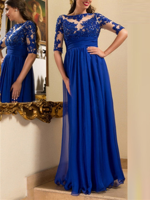 A-Line Bateau Appliques Beading Pleats Evening Dress