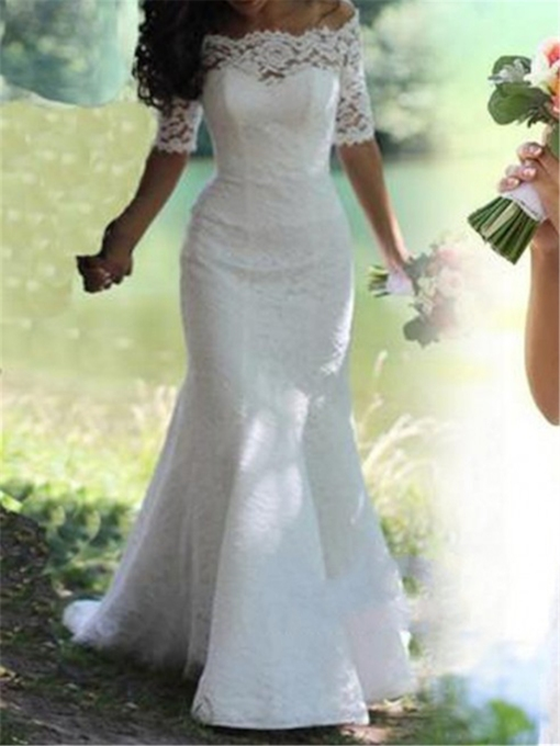 Trumpet Mermaid Half Sleeve Off The Shoulder Lace Wedding Dress