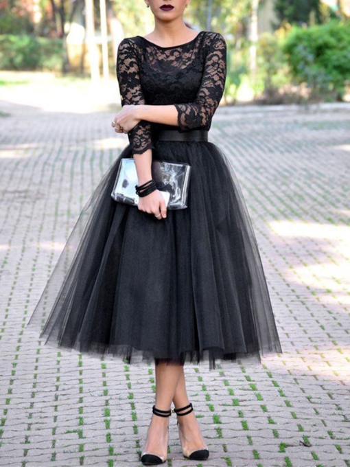 Scoop Neck 3/4 Length Sleeves Lace Tea-Length Evening Dress