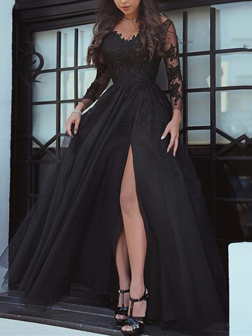 Long Sleeves Appliques Split-Front Black Evening Dress
