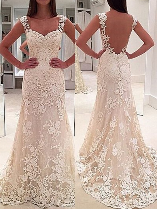 Straps Lace Sheath Backless Wedding Dress