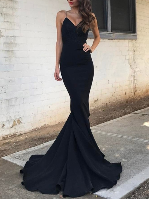 Spaghetti Straps Mermaid Black Evening Dress