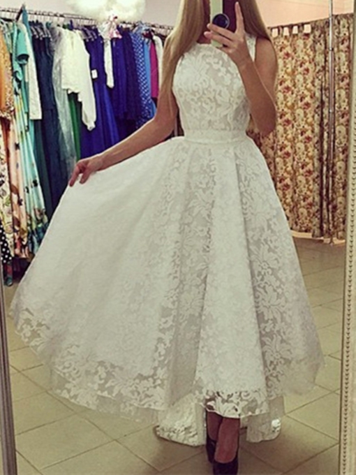 A-Line Scoop Lace Asymmetry Court Train Prom Dress
