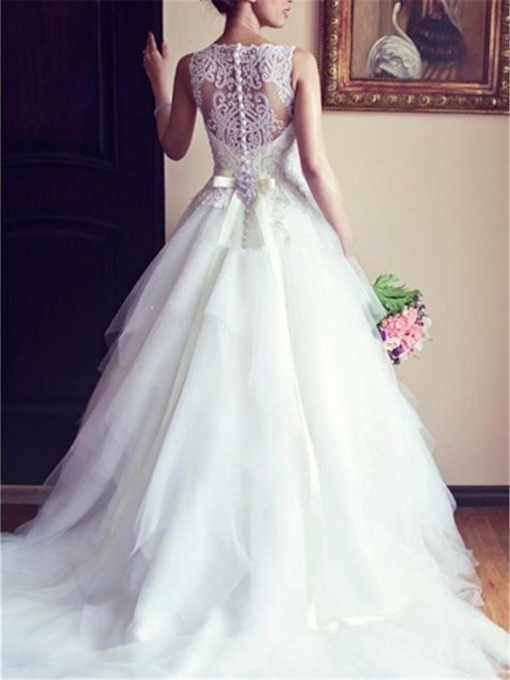 See-Through Beading Back Bateau Neck Wedding Dress