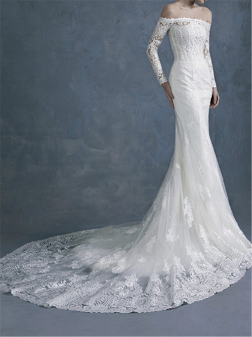 Off The Shoulder Long Sleeves Lace Mermaid Wedding Dress