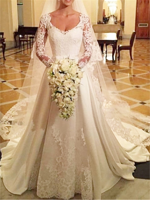 Button Lace Long Sleeve Wedding Dress