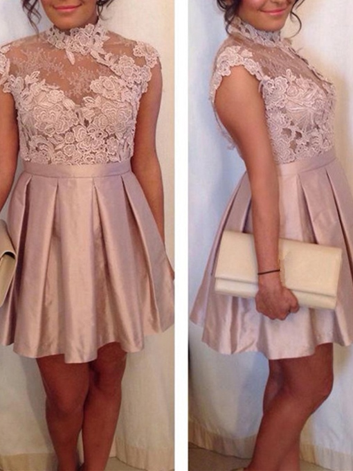 A-Line High Neck Cap Sleeves Appliques Lace Backless Homecoming Dress