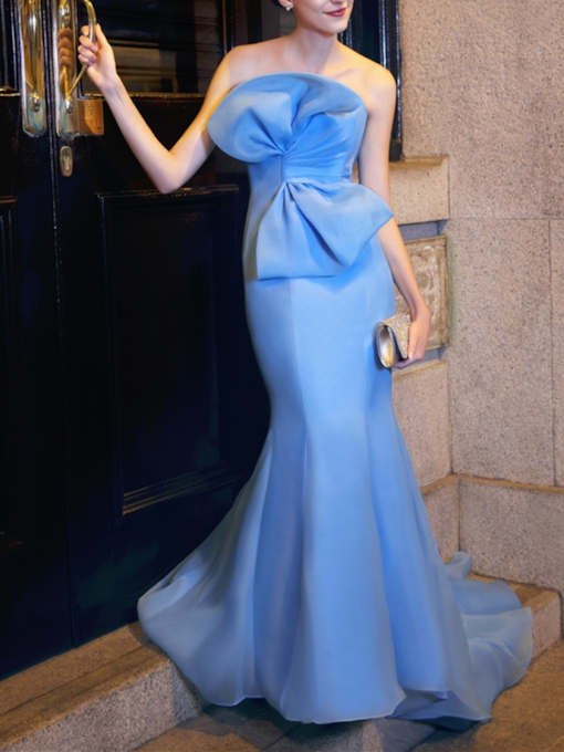 Mermaid Strapless Big Bowknot Evening Dress