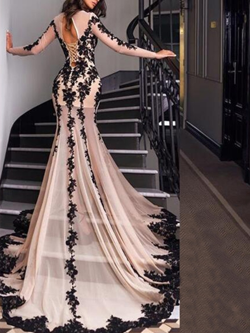 Lace Appliques Mermaid Long Sleeves Evening Dress