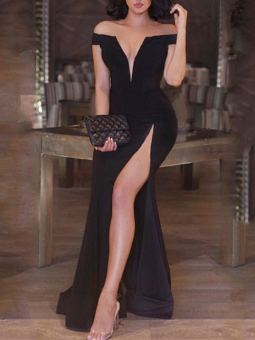 Off-the-Shoulder Sheath Split-Front Sweep Train Evening Dress