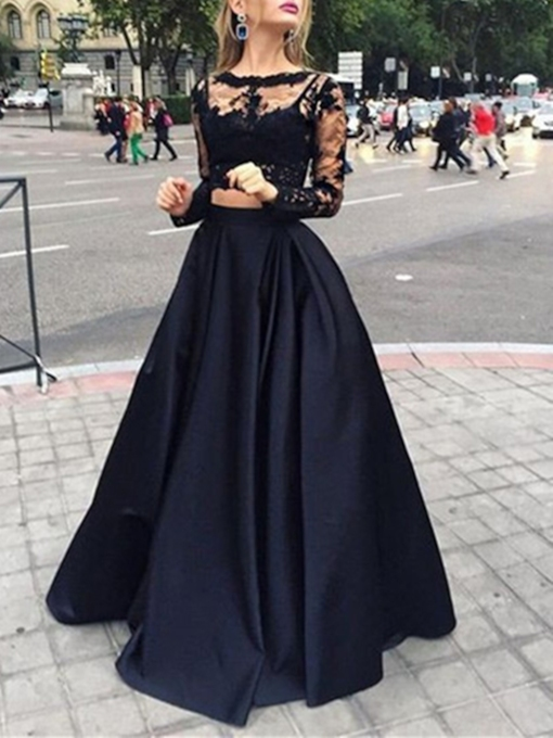Two Pieces Appliques Lace Black Evening Dress
