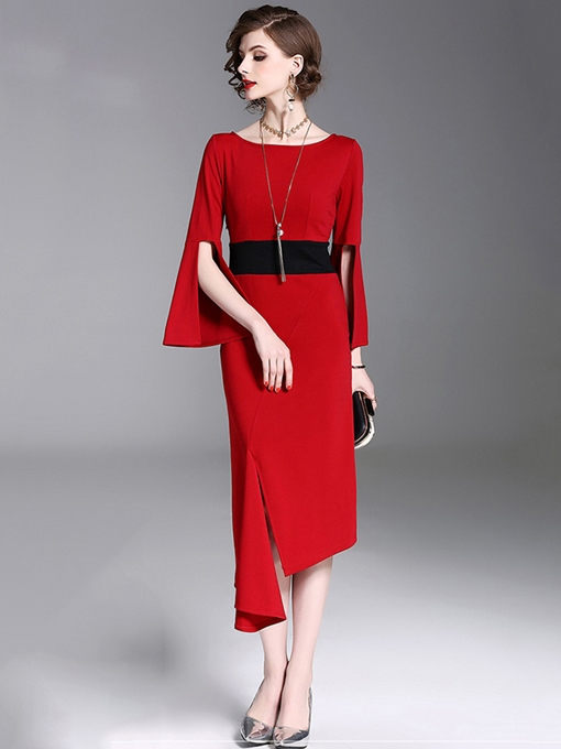 Date Red Bell Sleeve Women's Sheath Dress
