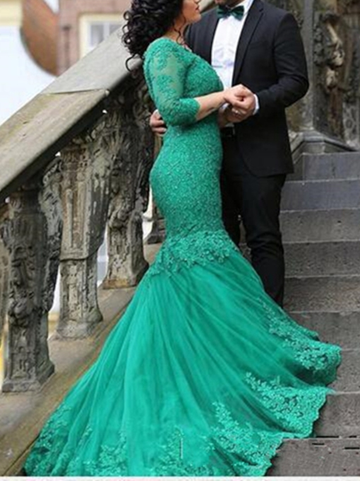 Mermaid V-Neck 3/4 Length Sleeves Appliques Chapel Train Evening Dress
