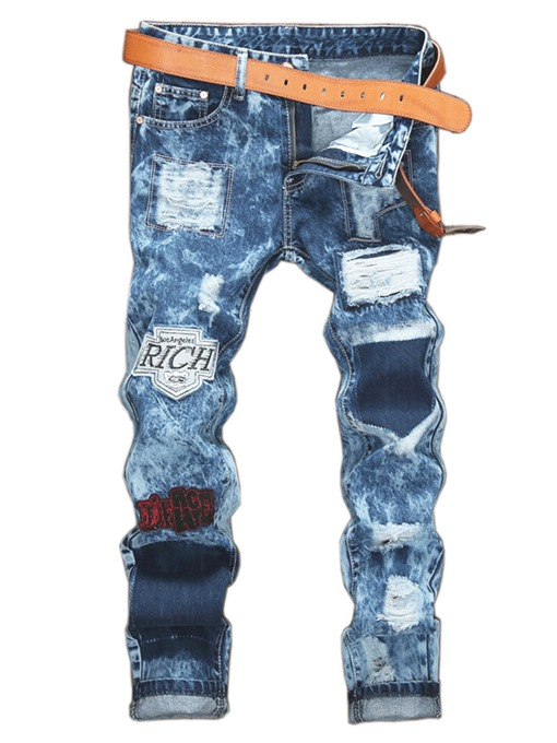 Mid Waist Patchwork Worn Slim Fit Men's Jeans