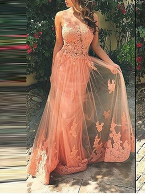 A-Line Straps Appliques Brush Train Prom Dress