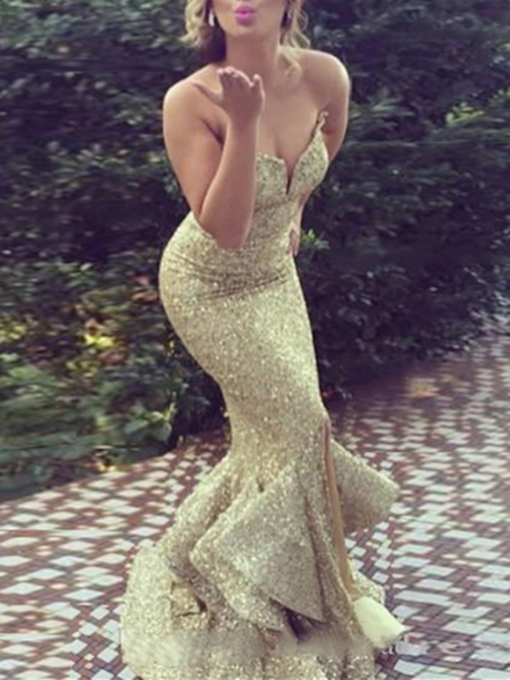 Mermaid Sequins Ruffles Split-Front Evening Dress