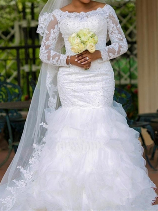 Mermaid Beading Wedding Dress with Long Sleeves