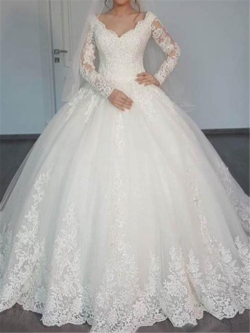 Ball Gown V-Neck Appliques Muslim Wedding Dress