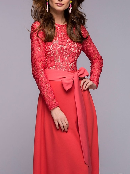 Scoop Neck A-Line Bow Lace Sashes Floor-Length Evening Dress
