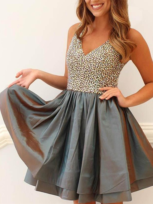 A-Line V-Neck Beading Mini Homecoming Dress