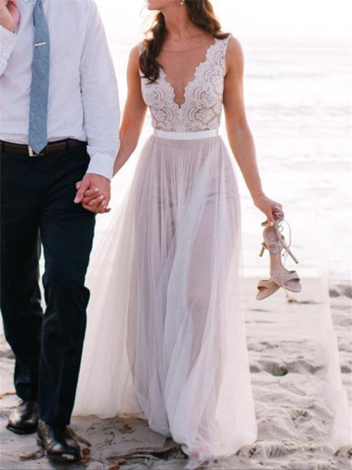 Sheer Neck Lace A Line Beach Wedding Dress