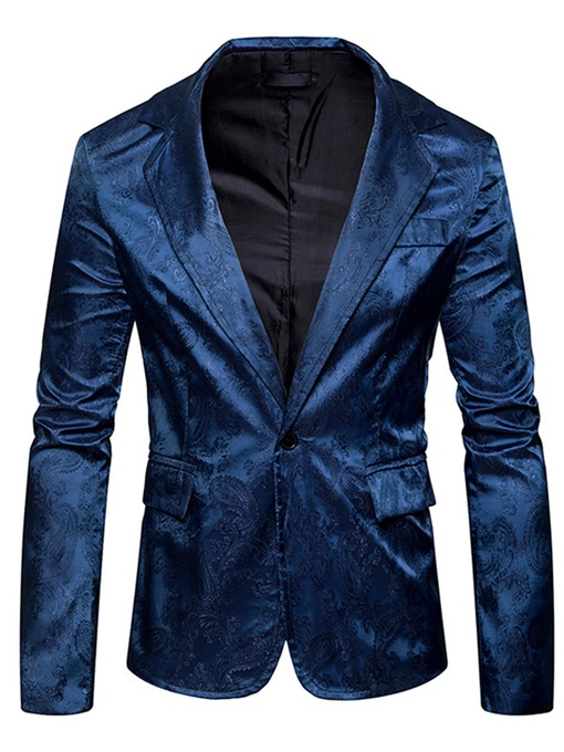 Notched Collar One Button Slim Men's Leisure Blazer