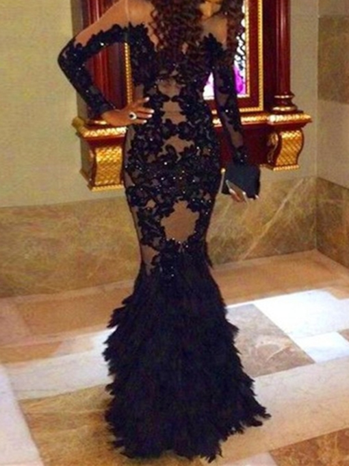 Long Sleeves Mermaid Appliques Beading Lace Evening Dress