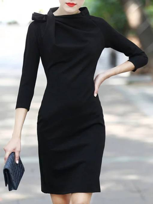 Black Bowtie Women's Sheath Dress