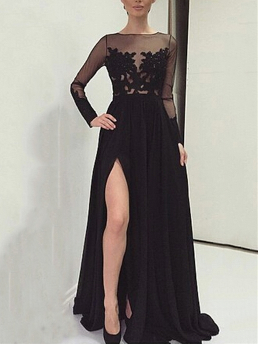 Sheer Back Appliques Split-Front Long Sleeves Evening Dress