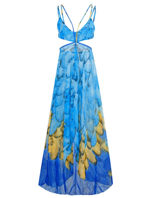 Spaghetti Straps Blue Bohemian Women's Maxi Dress