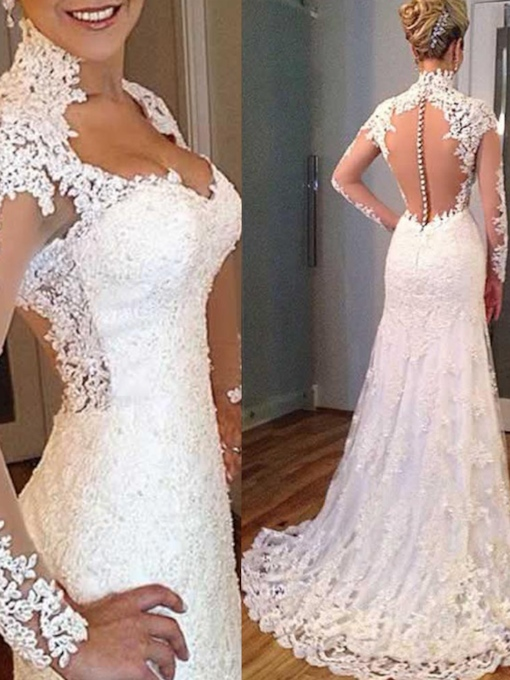 Sheer Buttoned Back V-Neck Long Sleeves Wedding Dress