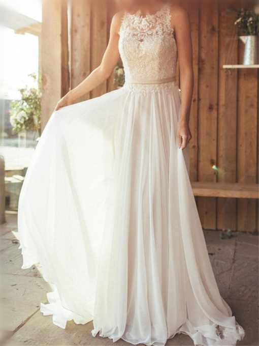 Straps Appliques Chiffon Beach Wedding Dress