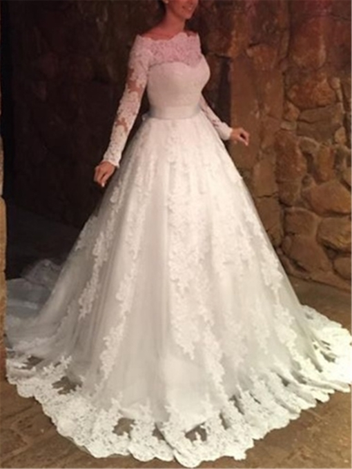 Lace Appliques Wedding Dress With Sleeves