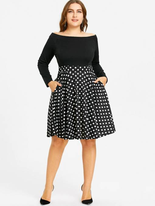 Off Shoulder Plus Size Pockets Women's Day Dress