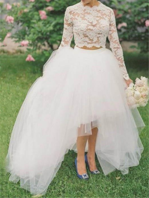 Long Sleeve Lace Two Pieces Wedding Dress